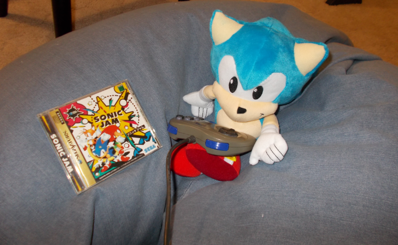 Here he is enjoying some Sonic Jam on the Saturn